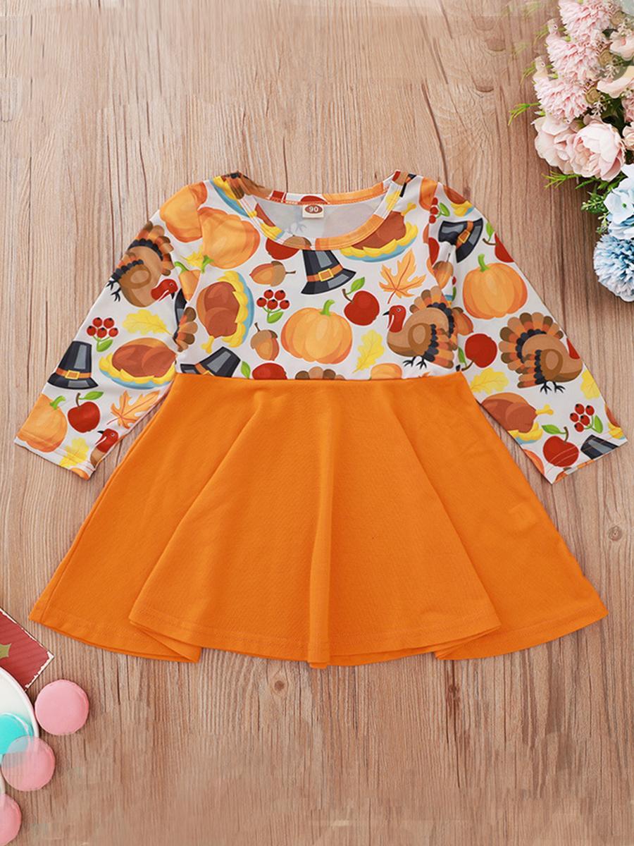 LW lovely Casual O Neck Print Patchwork Orange Girl Knee Length Dress