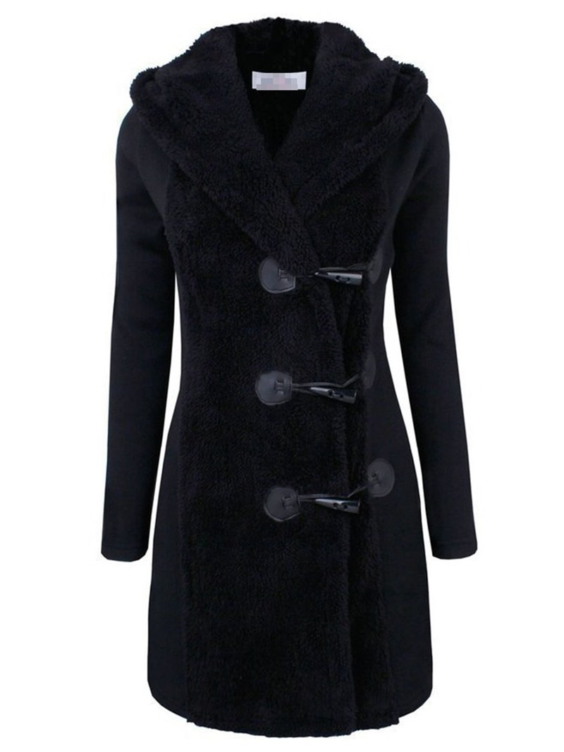 Ericdress Button Single-Breasted Slim Womens Hooded Overcoat