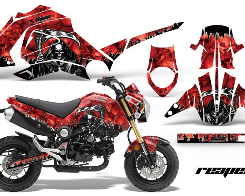 AMR Racing Motorcycle Graphics Kit Decal Sticker Wrap For Honda GROM 125 2013-2016áREAPER RED