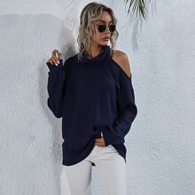 High Neck Cut Out Waffle Knit Oversized Tee