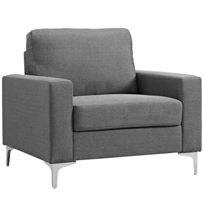 Allure Collection EEI-2776-GRY 37 Armchair with 5 Thick Foam Padded Cushions  Track Arms  Powder Coated Steel Base and Soft Polyester Upholstery in