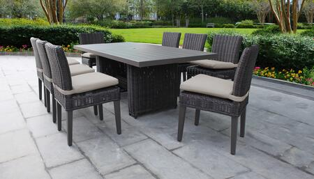 Venice Collection VENICE-DTREC-KIT-8C-BEIGE Patio Dining Set With 1 Table  8 Side Chairs - Wheat and Beige
