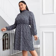 Kleid mit Stehkragen, Bluemchen Muster und Ruesche