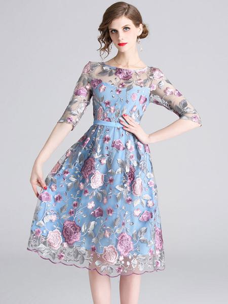 Milanoo Blue Skater Dress Half Sleeve Round Neck Embroidered Flared Dress