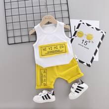 Tank top de niñitos con estampado de letra panel en contraste con shorts