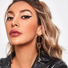 Chain Decor Long Strip Drop Earrings