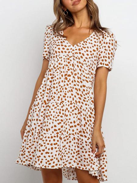 Milanoo Summer Dresses V Neck Printed Short Sleeve Sundress