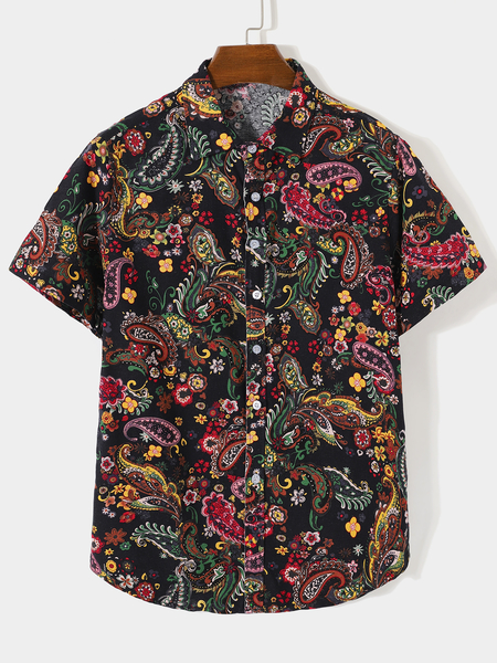 Yoins Men Summer Beach Holiday Casual Paisley Shirt