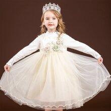 Toddler Girls Flower Applique Lettuce Trim Tulle Party Dress