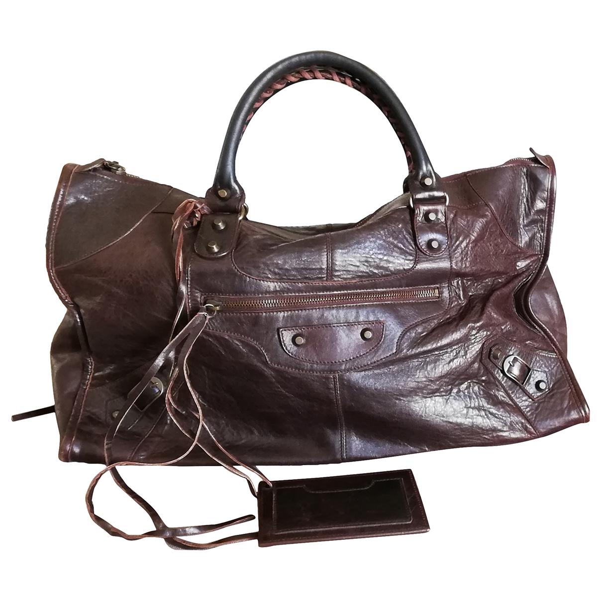 Balenciaga Work Handtasche in  Braun Leder