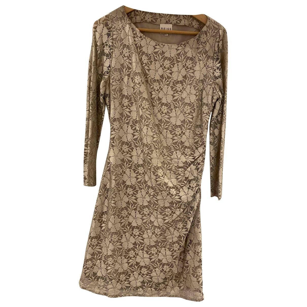 Reiss - Robe   pour femme en dentelle - beige