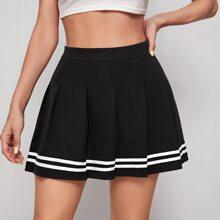 Falda con fruncido con cinta de rayas con cremallera lateral