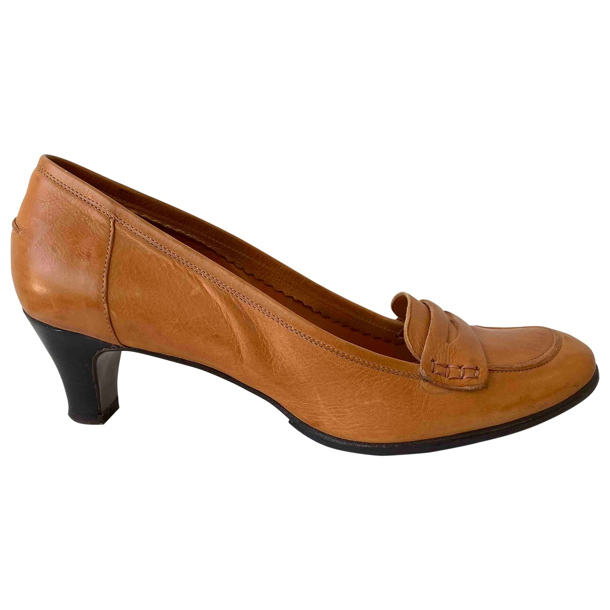 Non Signé / Unsigned \N Camel Leather Heels for Women 37 EU