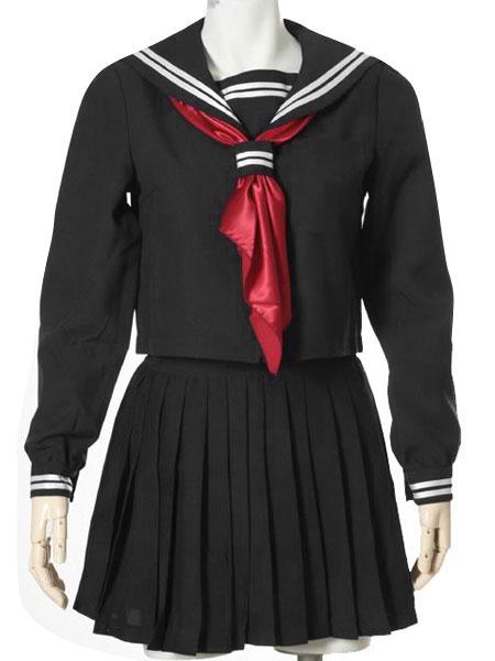Milanoo Black Uniform Tie Pleated Stripes Cotton Blend Costume  Halloween