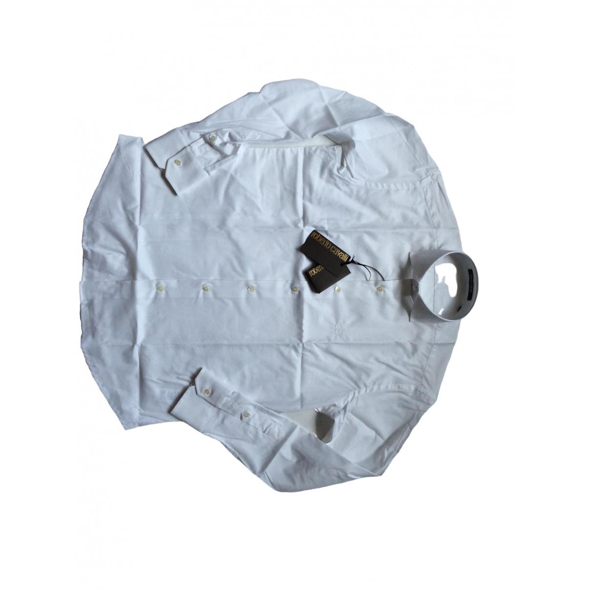 Roberto Cavalli \N White Cotton Shirts for Men 39 EU (tour de cou / collar)