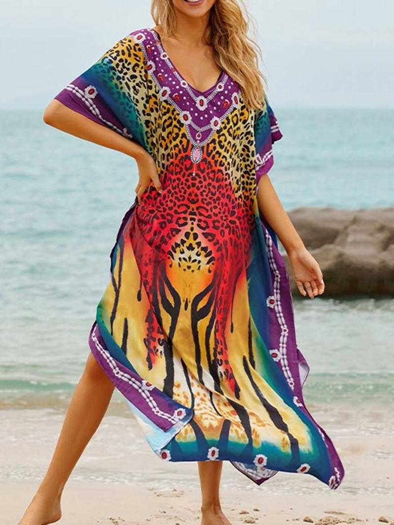Ericdress Color Block Mid-Calf Beach Look Dress Beach Dresses