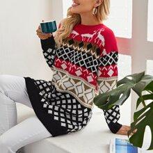 Pulloverkleid mit sehr tief angesetzter Schulterpartie und Weihnachten Muster
