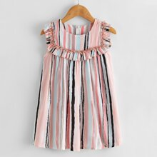 Toddler Girl Frill Trim Stripe Tunic Dress