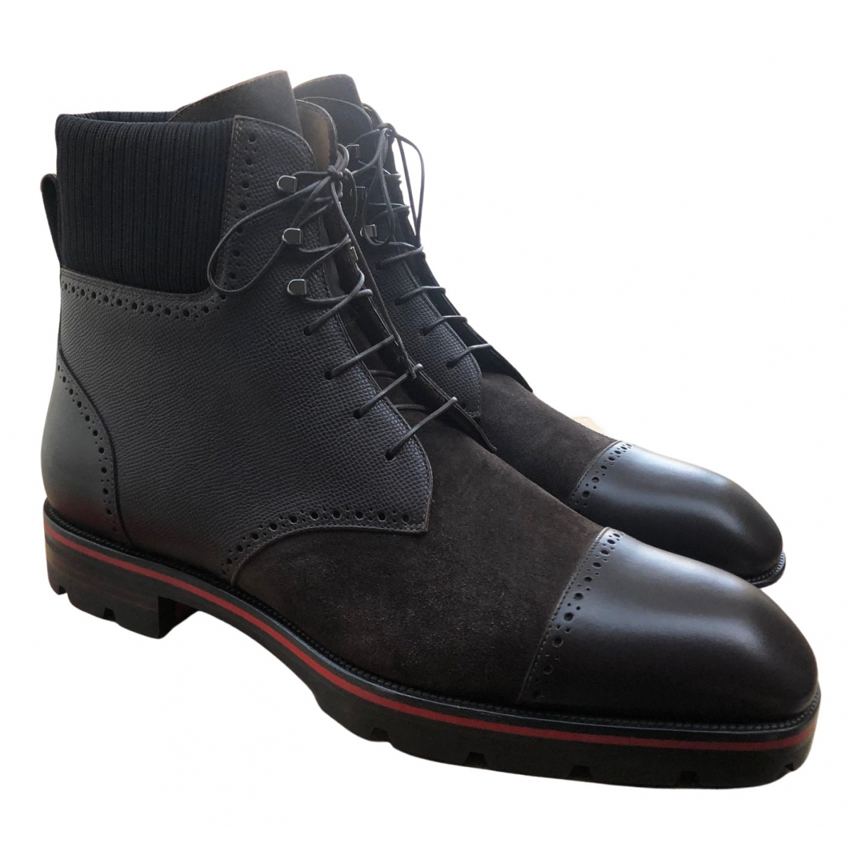 Christian Louboutin N Brown Leather Boots for Men 40 EU