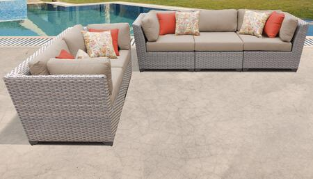 Florence Collection FLORENCE-05a-WHEAT 5-Piece Patio Set with 4 Corner Chairs and 1 Armless Chair - Grey and Wheat