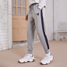 Jogginghose mit Kordelzug auf Taille, Kontrast Ziernaht und Grafik Muster