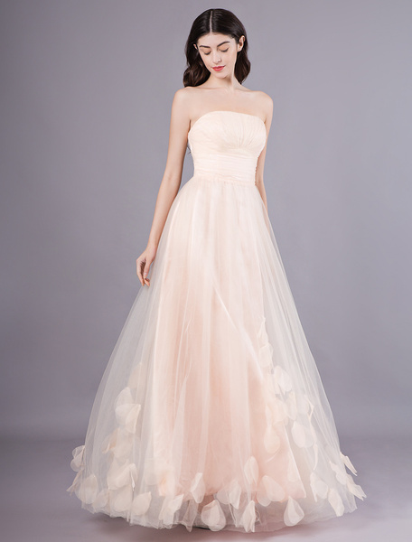 Milanoo Peach Strapless Prom Dress A Line Flower Tulle Floor Length Homecoming Dress