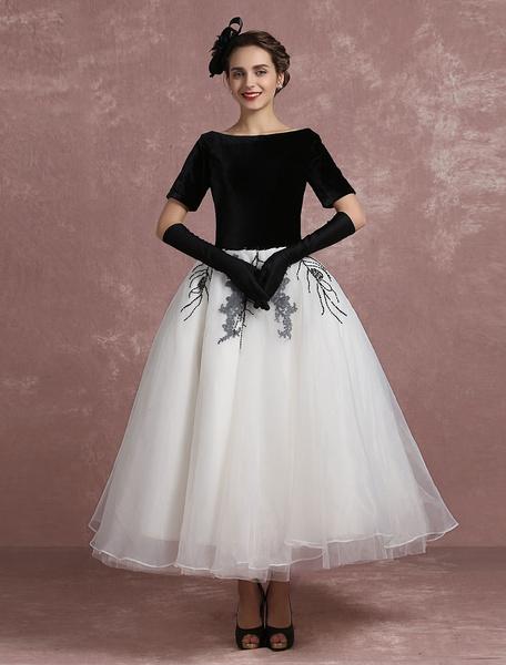Milanoo Vintage Cocktail Dress Black Applique Beaded Prom Dress Velvet Bateau Short Sleeve A Line Ankle Length Party Dress