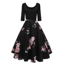 Vestido con estampado floral 50s