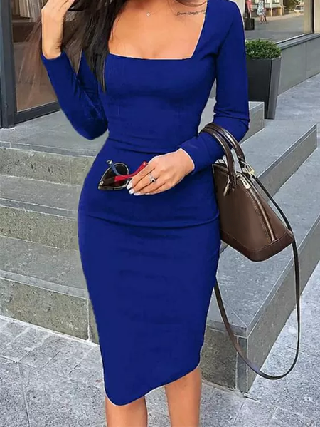 Yoins Blue Square Neck Long Sleeves Bodycon Dress