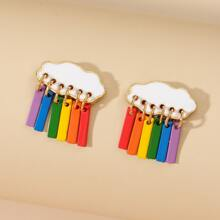 Cloud Decor Rainbow Bar Drop Earrings