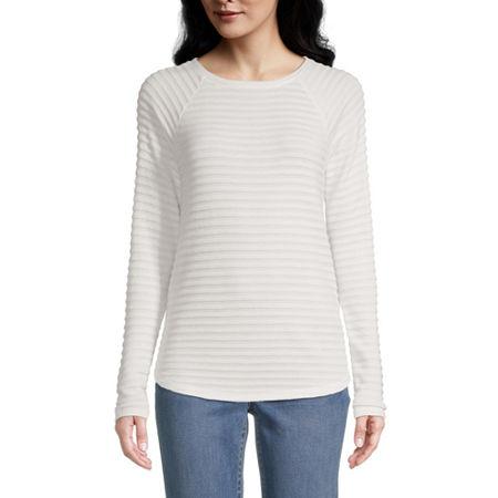 St. John's Bay-Womens Round Neck Long Sleeve T-Shirt, Large , Beige
