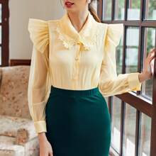 Solid Ruffle Detail Button Front Blouse