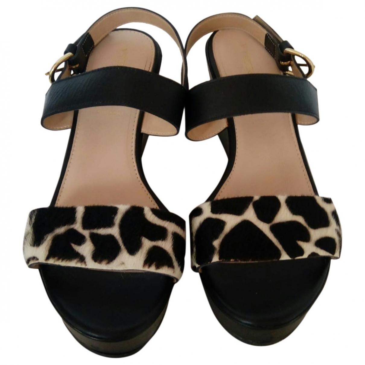 Marella \N Black Fur Sandals for Women 40 EU