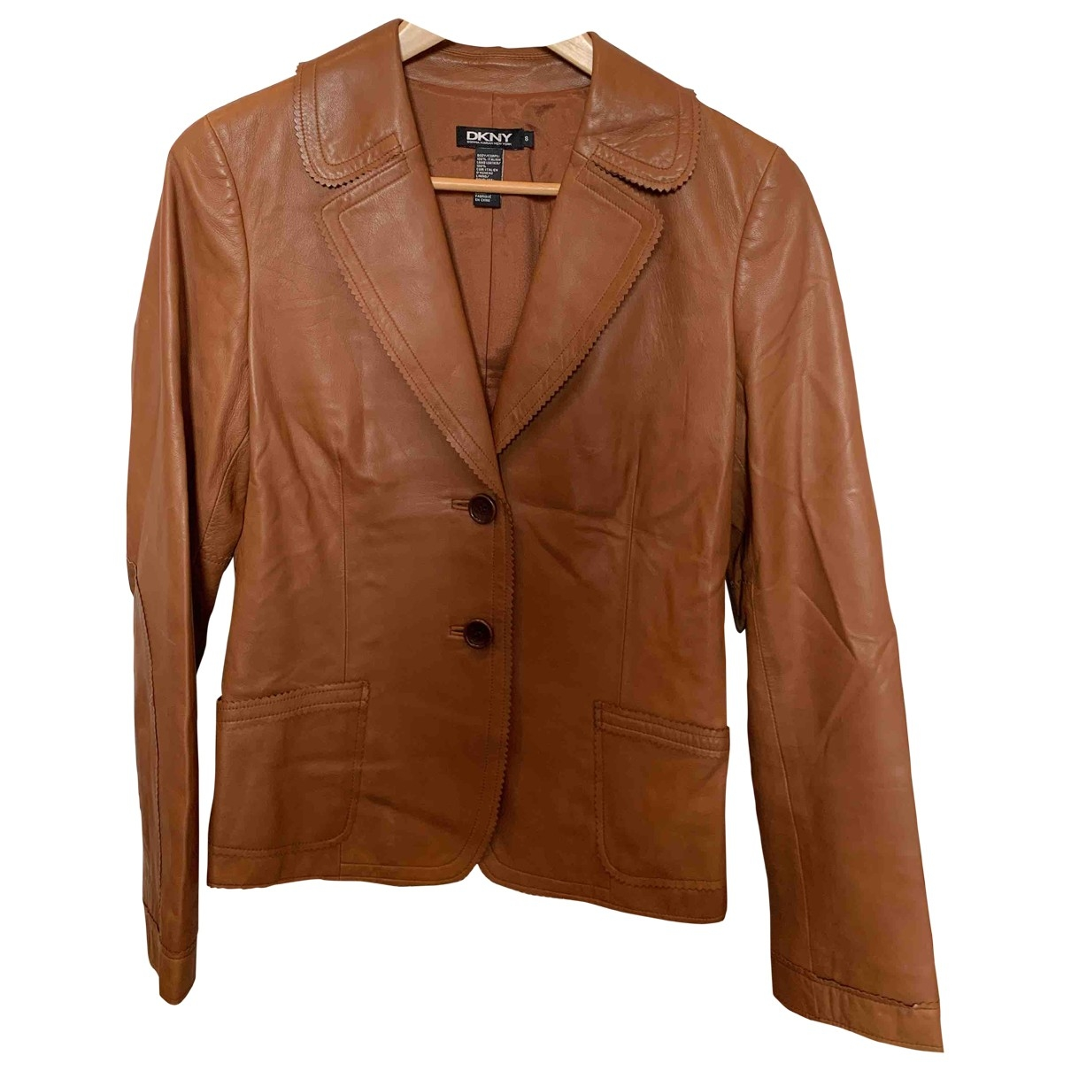 Dkny \N Beige Leather Leather jacket for Women 8 US