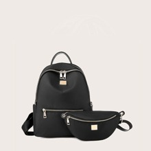2pcs Curved Top Backpack With Fanny Pack