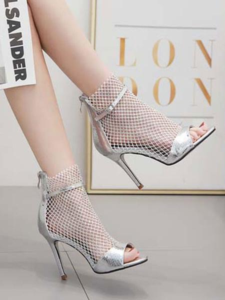 Milanoo Botines con sandalias negras Zapatos con sandalias de tacon alto con pedreria abierta para mujer
