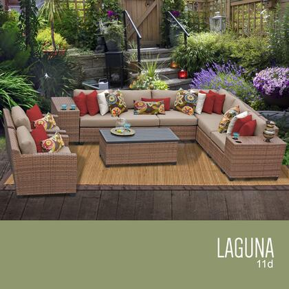 LAGUNA-11d-WHEAT Laguna 11 Piece Outdoor Wicker Patio Furniture Set 11d with 2 Covers: Wheat and