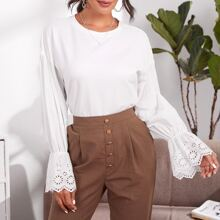Eyelet Embroidered Flounce Sleeve Solid Pullover