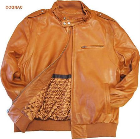 Mens Leather Bomber Cognac tanners avenue jacket