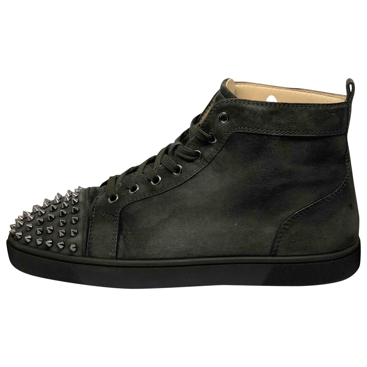 Christian Louboutin Louis Sneakers in  Khaki Veloursleder