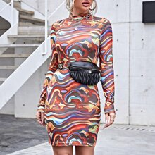 Mock Neck Marble Dress Without Bag