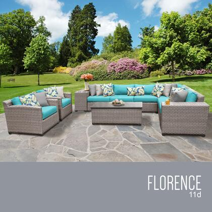 FLORENCE-11d-ARUBA Florence 11 Piece Outdoor Wicker Patio Furniture Set 11d with 2 Covers: Grey and