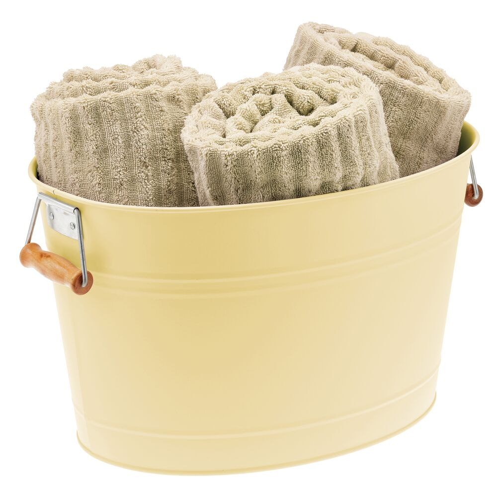 Metal Bathroom Storage Tub with Handles in Light Yellow, 16