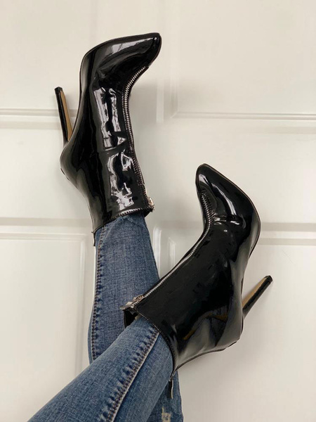 Milanoo Women Ankle Boots Black Patent Leather Pointed Toe Stiletto Heel 4.3 Booties