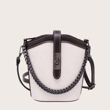 Two Tone Twist Lock Bucket Bag
