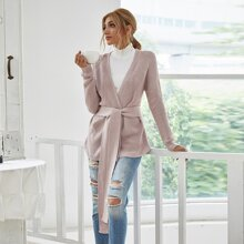 Solid Open Front Belted Cardigan