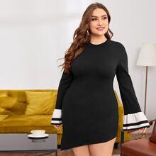 Vestidos de Punto de talla grande Asimetrico A rayas Elegante