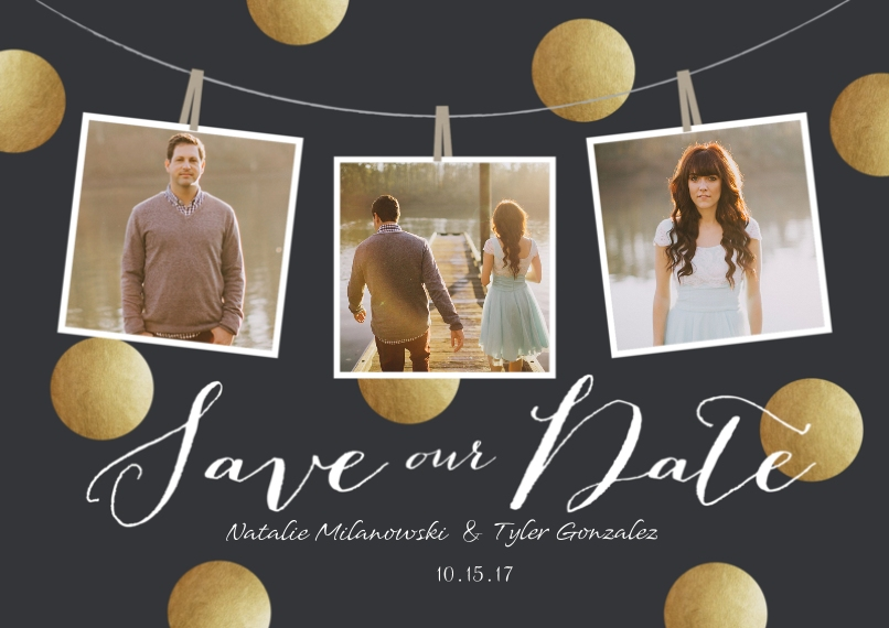 Save the Date Flat Glossy Photo Paper Cards with Envelopes, 5x7, Card & Stationery -Save Our Date Dots