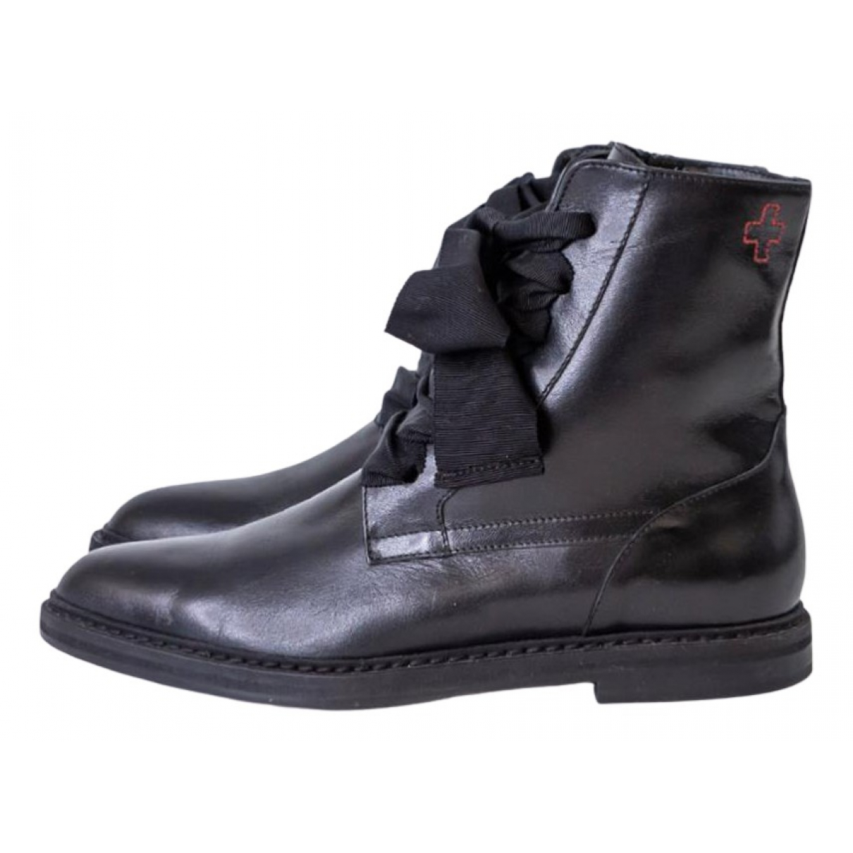 Af Vandevorst N Black Leather Boots for Women 38 EU