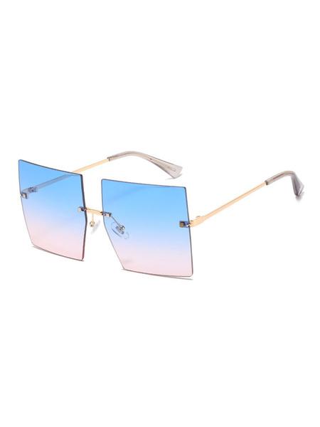 Milanoo Gafas para mujer Beach Blue Beach Gafas sin montura